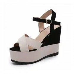 Women Fashoin Cream & Black Color Wedge Sandal CSW-102
