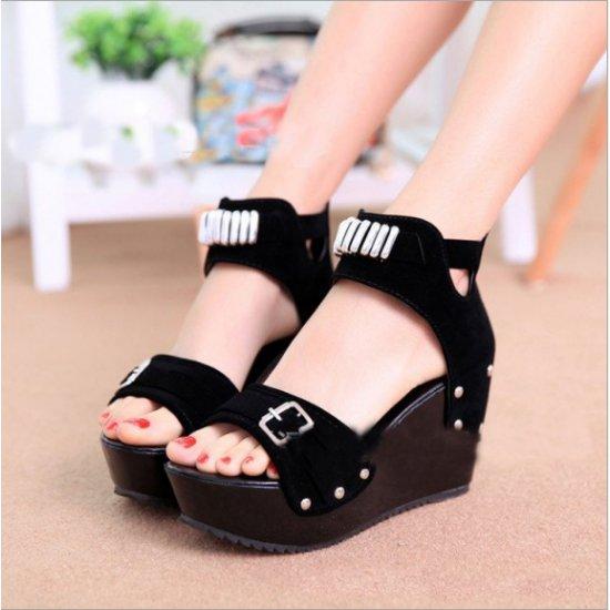 Women Fashion Black High Heel Wedge Sandals CSW-106BK