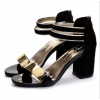 Korean Fashion Black Open-Toed Zipper Sandals S-17BK