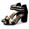 Korean Fashion Black Open-Toed Zipper Sandals S-17BK