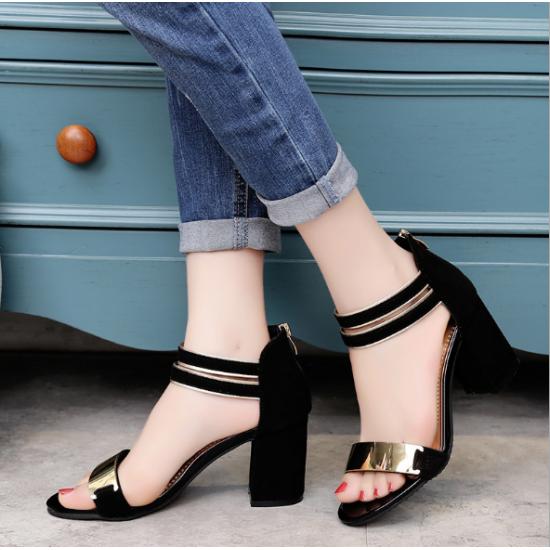 Korean Fashion Black Open-Toed Zipper Sandals S-17BK image