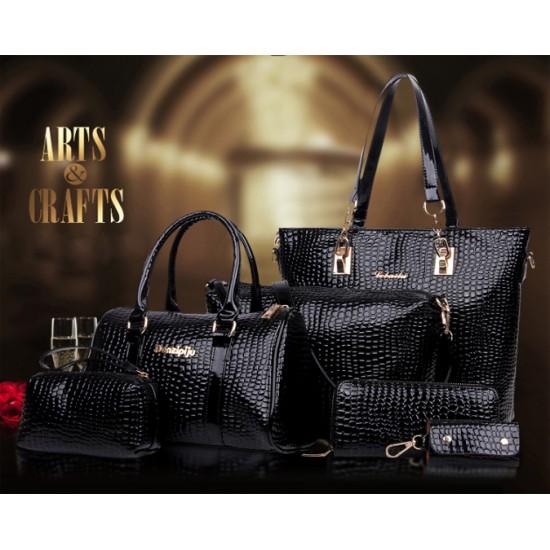 Worsely Black 6 Piece Crocodile Pattern Ladies Hand bags Set CLB-150BK image