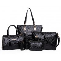 Worsely Black 6 Piece Crocodile Pattern Ladies Hand bags Set CLB-150BK