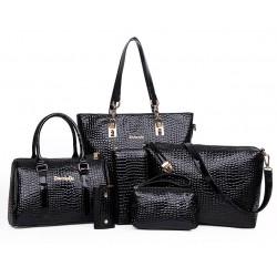 Worsely Black 6 Piece Crocodile Pattern Ladies Hand bags Set CLB-150BK