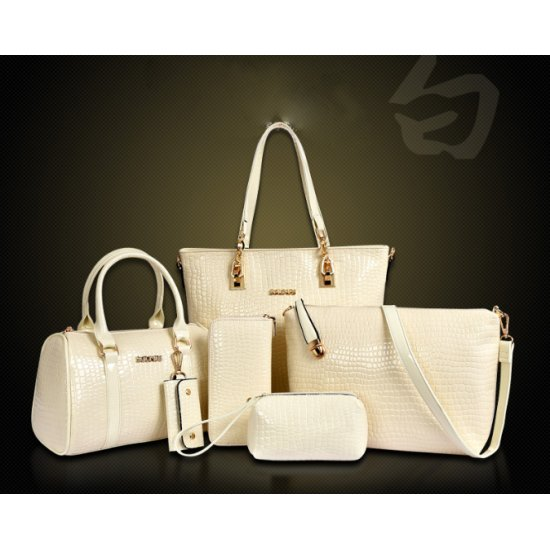 Worsely Cream 6 Piece Crocodile Pattern Ladies Hand bags Set CLB-150CR