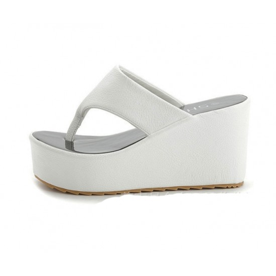 Women Fashion White High Wedge Slippers Csw-105