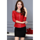 Women's European Fashion Slim Full Sleeves Red Leather Jacket WJ-01RD image