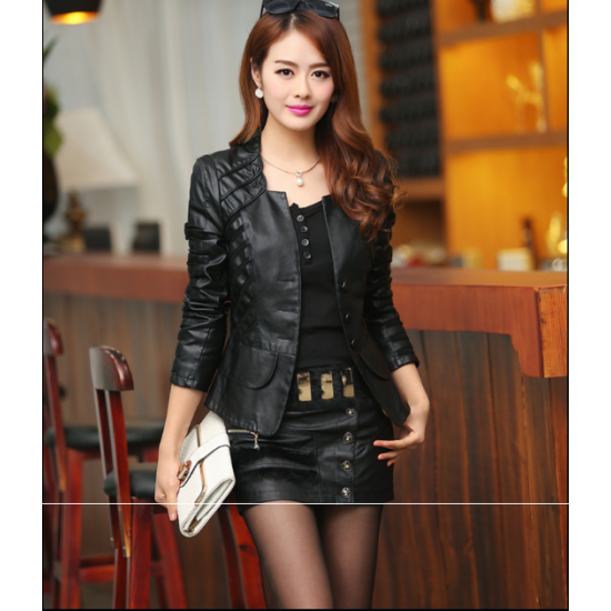 Women's Fashion Korean Splicing Black Color Leather Casual Jacket WJ-06Bk image