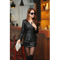 Women's Fashion Korean Splicing Black Color Leather Casual Jacket WJ-06Bk