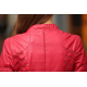 Women's Fashion Korean Splicing Red Leather Casual Jacket WJ-06RD image
