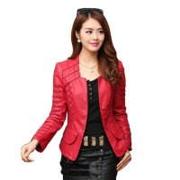 Women's Fashion Korean Splicing Red Leather Casual Jacket WJ-06RD
