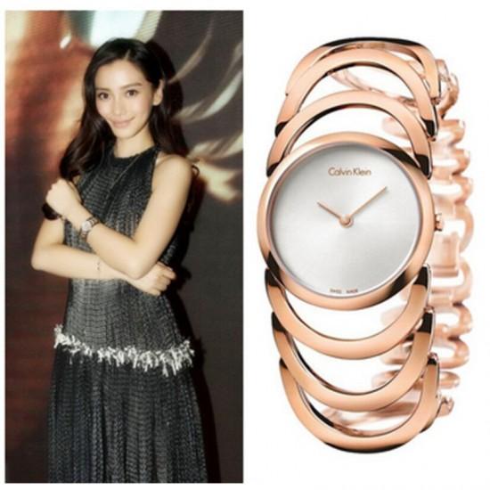 CK Style Ladies Rose Gold Hollow Bracelet Watch W101R image