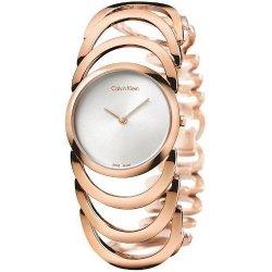 CK Style  Ladies Rose Gold Hollow Bracelet Watch W101R
