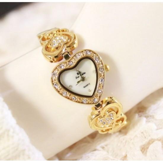 Heart Designed Ladies Gold Diamond Bracelet Watch W102G image