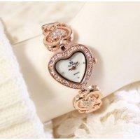 Heart Designed Ladies Rose Gold Diamond Bracelet Watch W102RG