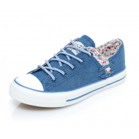 Women Dark Blue Floral Denim Canvas Sneaker Shoes WS-06BL