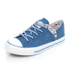 Women Dark Blue Floral Denim Canvas Sneaker Shoes WS-06BL