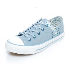 Women LIght Blue Floral Denim Canvas Sneaker Shoes WS-06LB