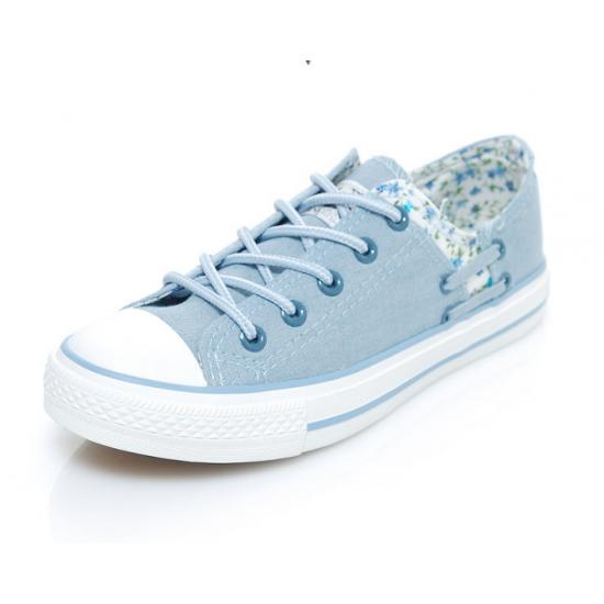Women LIght Blue Floral Denim Canvas Sneaker Shoes WS-06LB