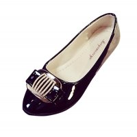 European Fashion Women Shining Pointed Black Flats Shoes S-12BK