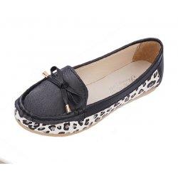 Women Fashion Black Leopard Pattern Flat Loafer Shoes WF-03BK