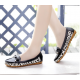 Women Fashion Black Leopard Pattern Flat Loafer Shoes WF-03BK image