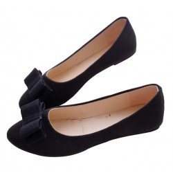 Women Fashion Black Suede Flat Shoes WF-04BK