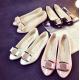 European Fashion Women Shining Pointed Cream Flats Shoes S-12CR image