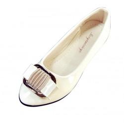 European Fashion Women Shining Pointed Cream Flats Shoes S-12CR