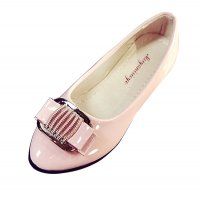 European Fashion Women Shining Pointed Pink Flats Shoes S-12PK