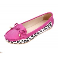 Women Fashion Pink Leopard Pattern Flat Loafer Shoes WF-03PK