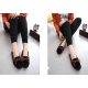 Women Fashion Black Suede Matte Comfortable Loafer Flats WF-05BK image