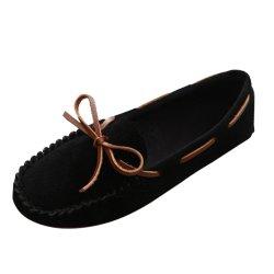 Women Fashion Black Suede Matte Comfortable Loafer Flats WF-05BK