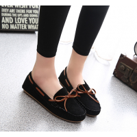 Women Fashion Black Suede Matte Comfortable Loafer Flats WF-05BK