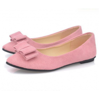Women Fashion Pink Suede Flat Shoes WF-04PK