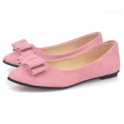 Women Fashion Pink Suede Flat Shoes WF-04PK