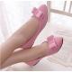Women Fashion Pink Suede Flat Shoes WF-04PK image