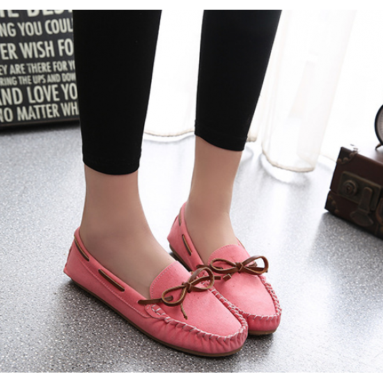 Women Fashion Pink Suede Matte Comfortable Loafer Flats WF-05PK