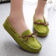 Women Fashion Green Suede Matte Comfortable Loafer Flats WF-05GN image