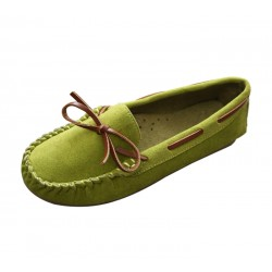 Women Fashion Green Suede Matte Comfortable Loafer Flats WF-05GN