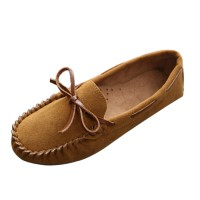 Women Fashion Brown Suede Matte Comfortable Loafer Flats WF-05BR
