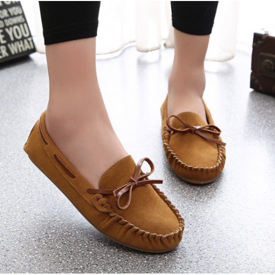 Women Fashion Brown Suede Matte Comfortable Loafer Flats WF-05BR image