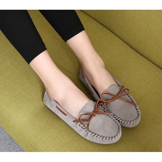 Women Fashion Grey Suede Matte Comfortable Loafer Flats WF-05GR image
