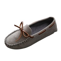 Women Fashion Grey Suede Matte Comfortable Loafer Flats WF-05GR