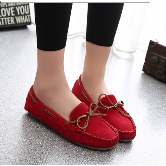 Women Fashion Red Suede Matte Comfortable Loafer Flats WF-05RD image