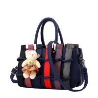 Women Purple Pu Leather Satchel Bag with Little Bear WB-01BL