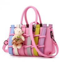 Women Dark Pink Pu Leather Satchel Bag with Little Bear WB-01PK