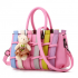 Women Dark Pink Pu Leather Satchel Bag with Little Bear WB-01PK