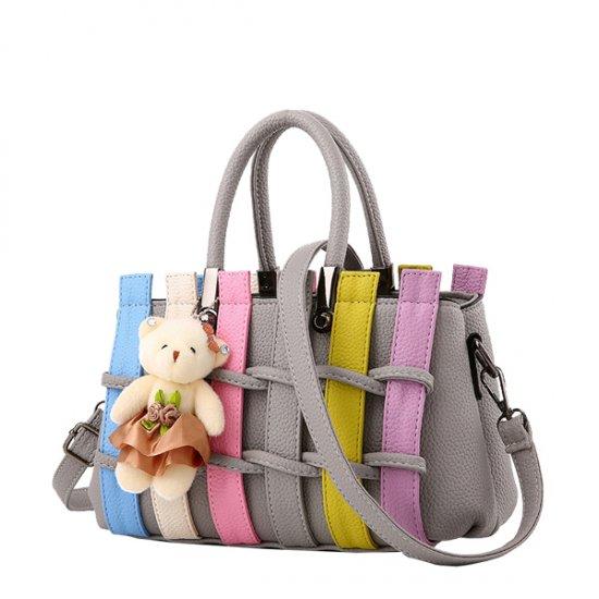 Women Grey Pu Leather Satchel Bag with Little Bear WB-01GR