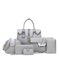 Women Latest Fashion Bags Package 6 Pieces Handbags Grey WB-02